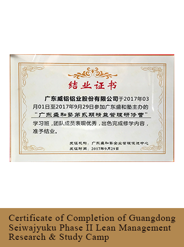 Certificate of Completion of Guangdong Seiwajyuku Phase II Lean Management Research & Study Camp